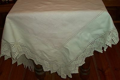 Vintage Pale Green Linen Tablecloth with 10cm Hand Crochet Lace Edge