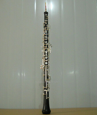 New professional Ebony wooden silver plate C key Oboe with wood case