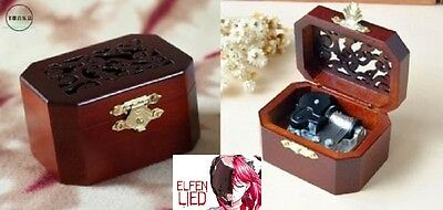 CLASSIC OCTAGON WOOD WIND UP MUSIC BOX :  Elfen Lied - Lilium