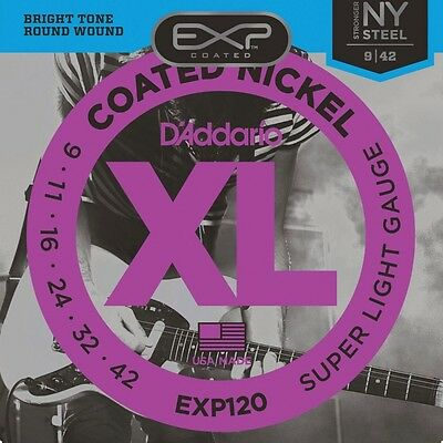 D'Addario EXP120 Coated Nickel Plated Electric Super Light Guitar Strings 09-42