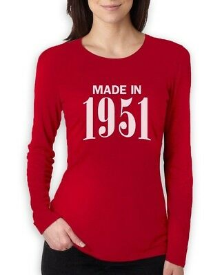 Made In 1951 Retro 65th Birthday Gift Idea Cool Women Long Sleeve T Shirt Bday