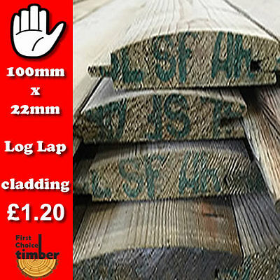 ONLY £1.20 a mtr REDWOOD LOG LAP BARREL BOARD TANALISED TIMBER CLADDING 100m min