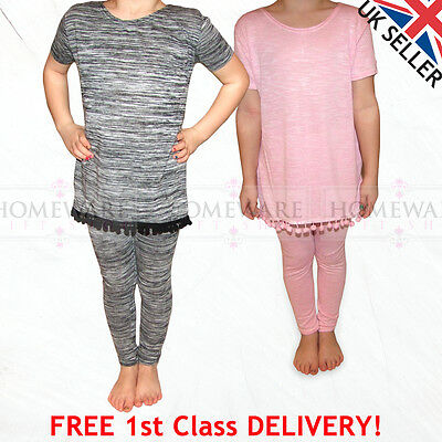 Girls Kids Pompom Tracksuit Jogger Style Marl Grey Pink Outfit Sizes 2Y - 13Y Uk