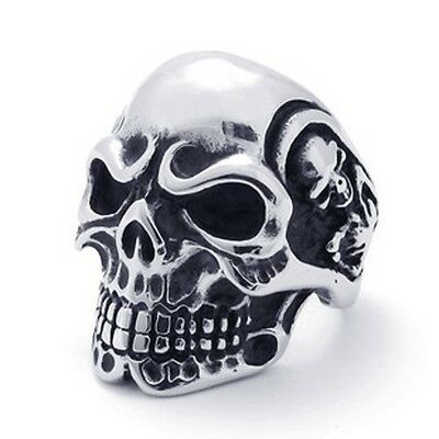 Men's Silver Punk Rock 316L Stainless Steel Skull skeleton Biker Ring Size 7-13