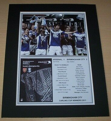Birmingham City - 2011 Carling Cup Winners Print Mounted To A4