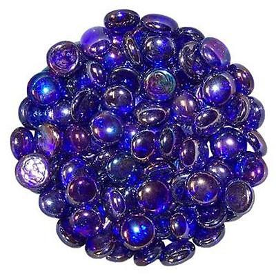 50 Royal Blue Glass Round Decorative Pebbles - Stones - Beads - Nuggets
