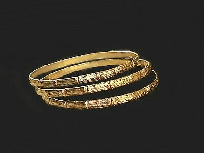 W/S LOT of 3 Large Bamboo gold bangles Real 1/20 -14k gold filled rigid bangles