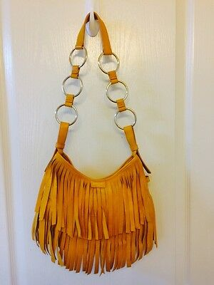 1b4c5cad1ed YVES SAINT LAURENT YSL Fringe La Boheme Yellow Leather Suede Bag Purse Tom  Ford