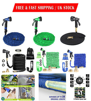 100FT Expandable Flexible Garden Hose Pipe With Aluminium Fittings & Spray Gun
