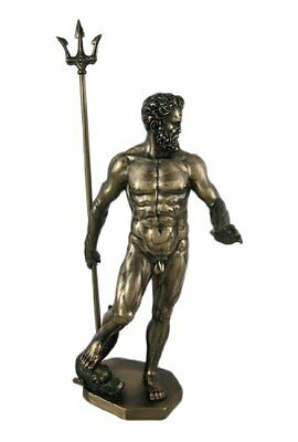 Greek God Poseidon Nude Bronzed Statue Neptune, New, Free Shipping