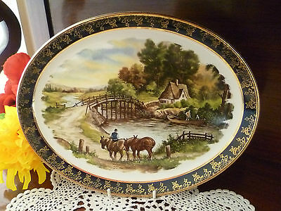 Stunning Royal Falcon Ware England Farm Cottage Plate Signed Hunnik