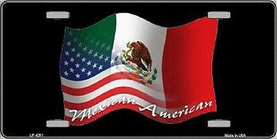 Mexican American Mexico USA Flag Metal Novelty License Plate Tag