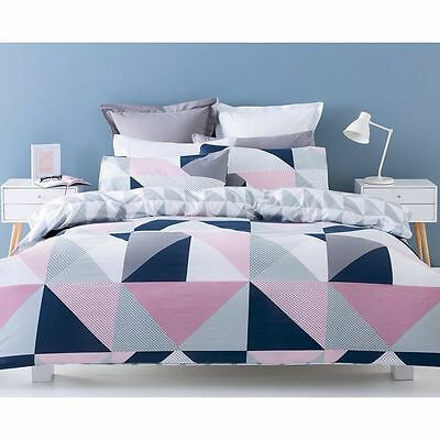 NAVY PINK GREY WHITE GEOMETRIC QUEEN bed QUILT DOONA COVER SET NEW