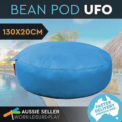 New BeanPod Chair Couch Soft Round Bean Bag Cover Waterproof Indoor Outdoor Blue