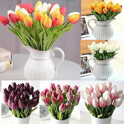 10pcs Artificial Tulip Silk Flowers Bridal Wedding Real Touch Bouquet Home Decor