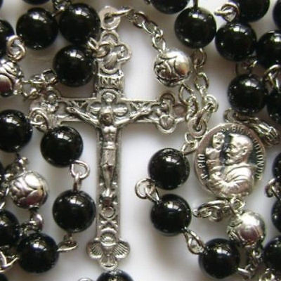 BLACK Natural Carnelian Agate BEADS ROSARY & CROSS NECKLACE CRUCIFIX