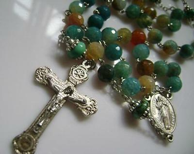 NICE Agate BEADS & Turquoise BEAD ROSARY CROSS CRUCIFIX CATHOLIC NECKLACE GIFT