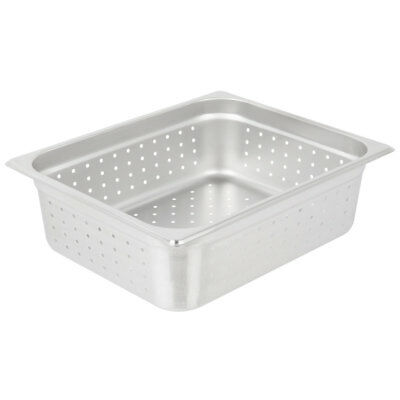 "Half Size Perforated Stainless Steel Steam Table / Hotel Pan - 4"" Deep"