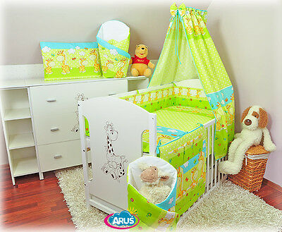 Delivery FREE Cot with drawer + mattress + kids bedding sets: 22-part set