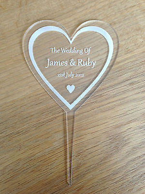 Personalised Crystal Clear Engraved Wedding Cake Topper With Names & Date