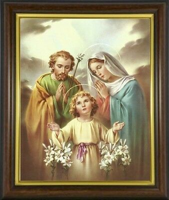Holy Family Mary Joseph Jesus - Framed Picture - Statues & Candles Listed M10