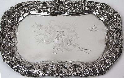 Tray Profusely Chiseled . Sterling Silver. Punched Vachier. Spain. Circa 1900