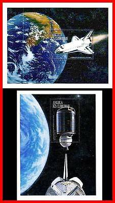ANGOLA 1999 SPACE RESEARCH =APOLLO 11 x2 (TWO) S/S SHUTTLE MNH