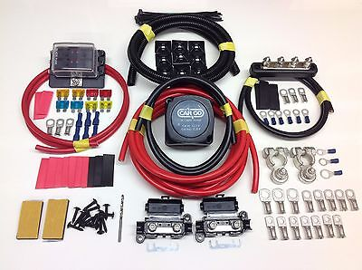 5Mtr Split Charge Kit 12V 140A Amp Relay 110Amp Cable + 6 Way Fuse Box + Bus Bar