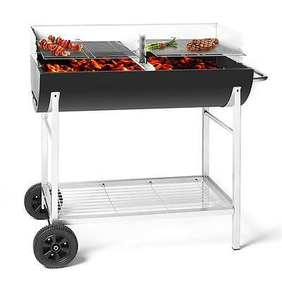 Charcoal Bbq Grill Outdoor Barbecue Grills Half Oil Drum Barrel Trolley Wheel