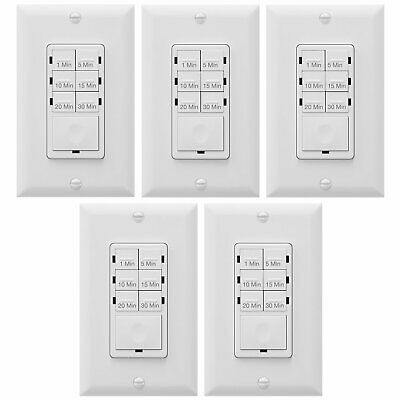 5 Pack In-Wall HET06A Countdown Timer Light Switch LED Enerlites 30 Minutes Fan
