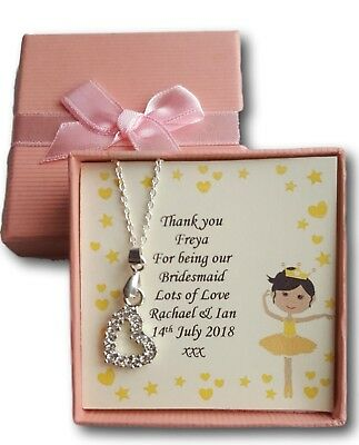 Bridesmaid Present Gift Childrens Thank You Heart Necklace  Wedding  Flower Girl