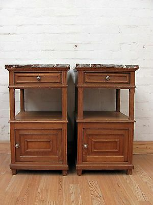 Rare Pair Of Antique French Oak Bedside Tables - C1920