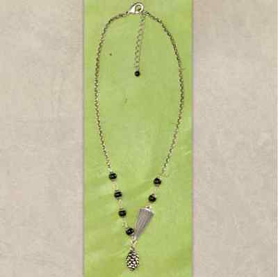 Whispering Pine Necklace by Big Sky Silver Antiqued Silver Black Agate