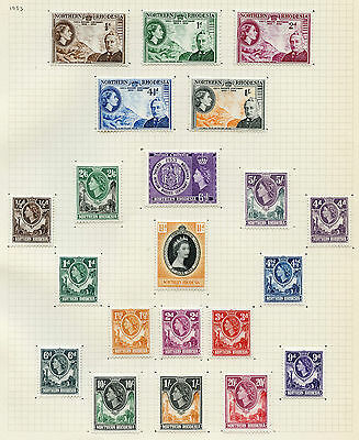 Weeda Northern Rhodesia 54-75 VF mint VLH 1953 QEII sets and singles CV $85.65