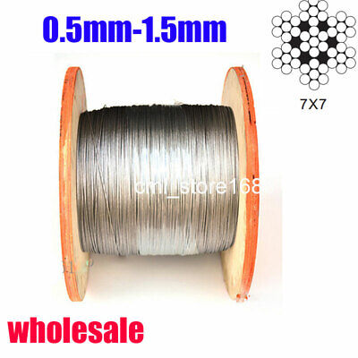 304 Stainless Steel Cable Wire rope-500feet  0.5mm-1.5mm 500ft/300meters
