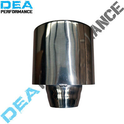 Dea Strainless Steel Oval Double Wall Slant Rolled Exhaust Tip Inlet 2.5''