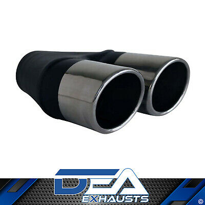 "Dea S/steel Twin 3.5"" Inch Rolled In Angle Cut Exhaust Tip Lhs 3"" Inlet"
