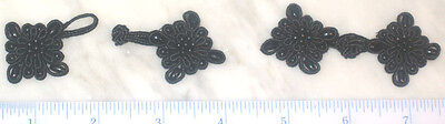 6 pairs large black bead Chinese Frogs Closure buttons hand made