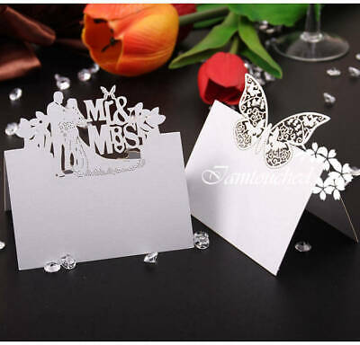 50X Laser Cut Place Name Card White Glass Table Setting Wedding Favor Supplies