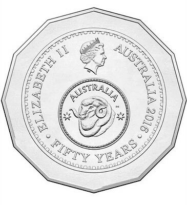 "2016 50c Fifty Cent Coin ""50th Anniversary of Decimal Currency"" Secure Post"