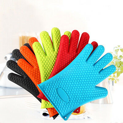 2pcs Kitchen Oven Glove Heat Resistant Silicone Pot Holder Baking BBQ Cook Mitts