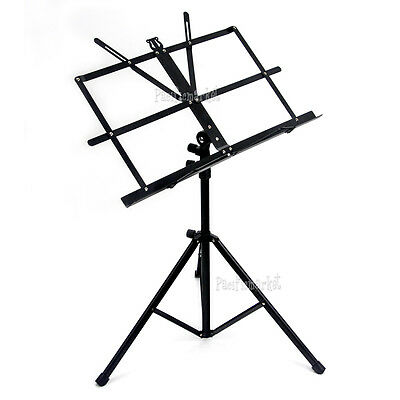 PRO Stage Folding Adjustable Music Sheet Stand Tripod Holder Black Portable NEW