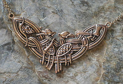Collier Necklace Collar Bronze Odin and his Ravens Hugin Munin Druids Wicca