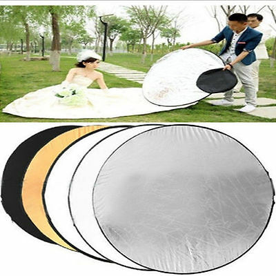 """24"""" 60cm 5-in-1 Photography Studio Photo Disc Collapsible Light Reflector Hot UL"""