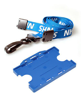 Printed NHS Lanyard & Double Sided Blue NHS ID Card Holder Free Postage