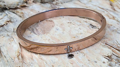 Rose Gold Plated Stainless Steel Cross Bangle. Confirmation or communion gift