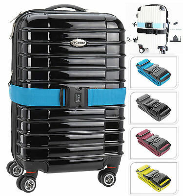 STRONG ADJUSTABLE LUGGAGE TRAVEL OUTDOOR SUITCASE STRAP BELT LOCK WITH Safety
