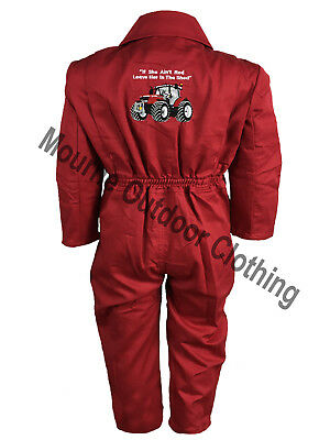 Kids Massey Ferguson Tractor Logo Tearaway Junior Coverall Overall Boilersuit