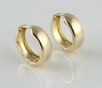New 9ct Yellow Gold Round Plain Huggie Earrings