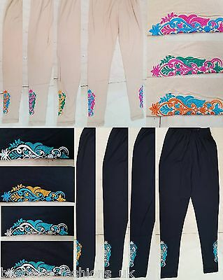 Ladies Women's Embroidery Stitched Slim Churidaar Trouser Leggings One Size 8-14